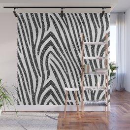 Black Glitter Zebra Stripes Wall Mural