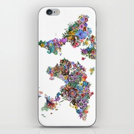 tropical floral world map iPhone Skin