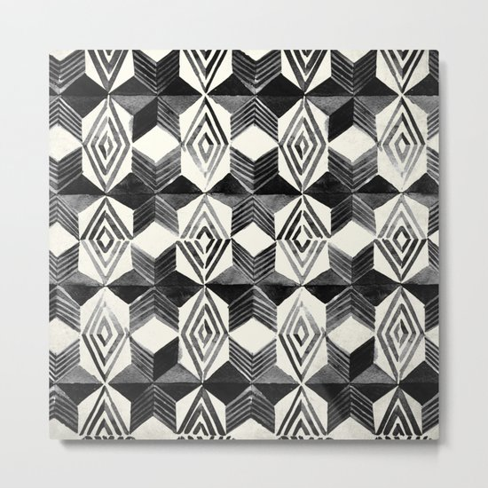 Shibori Diamond Stars Black Earth and Ivory Metal Print