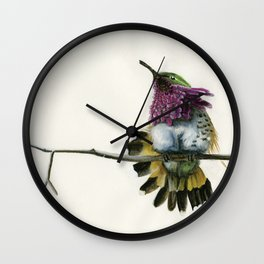 Hummingbird on a branch Wall Clock