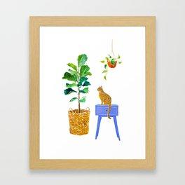 Fiddle Leaf Fig and Cat Framed Art Print