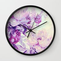 pastel Wall Clocks featuring pastel bouquet by clemm