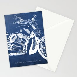 Blue motorcycle blueprint, HD VRSCF V-Rod Muscle,white line,home decor,man office, man cave decor Stationery Cards