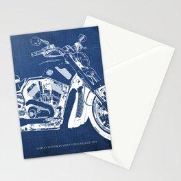 Blue motorcycle blueprint, HD VRSCF V-Rod Muscle,white line,home decor,man office, man cave decor Stationery Cards
