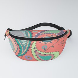 Boho Paisley on Coral Fanny Pack