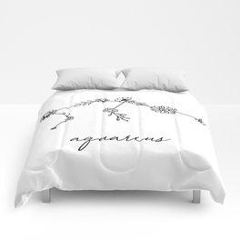 Aquarius Floral Zodiac Constellation Comforters