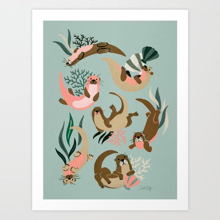Otter Collection - Mint Palette Art Print