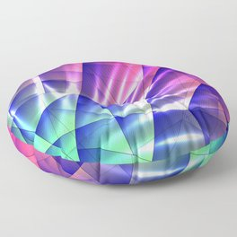 Bright glare of crystals on irregularly shaped blue and violet triangles. Floor Pillow