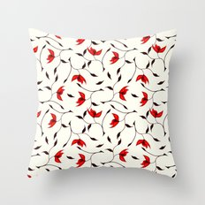 Strange Red Flowers Pattern Throw Pillow