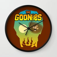 the goonies Wall Clocks featuring The Goonies by tuditees