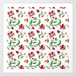 Light spring seamless floral pattern on white background Art Print