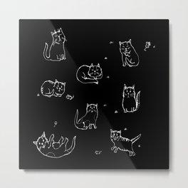 Playful kitties on black Metal Print