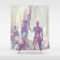 surfboard Shower Curtains featuring Explorers III by HappyMelvin