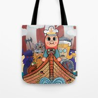 "vikings Tote Bags featuring My dangerous Friends. (Vikings) by Olivier Dressen aka ""HERO"""