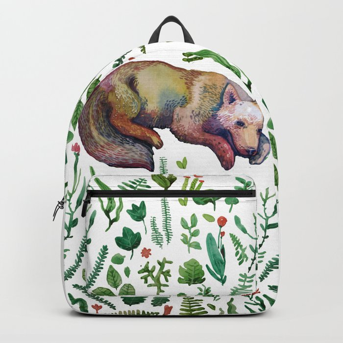wild wolf in the white Backpack