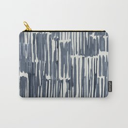 Simply Bamboo Brushstroke Indigo Blue on Lunar Gray Carry-All Pouch