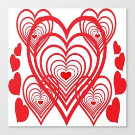 0PTICAL ART RED VALENTINES HEARTS IN HEARTS DESIGN Canvas Print