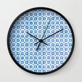 Blue Portuguese Tile Pattern Wall Clock