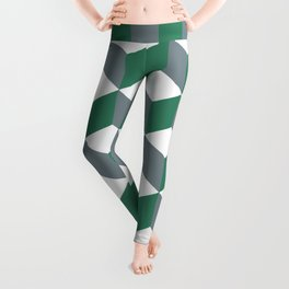 Diamond Repeating Pattern In Quetzal Green and Grey Leggings
