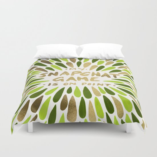 Snapchat – Green & Gold Duvet Cover