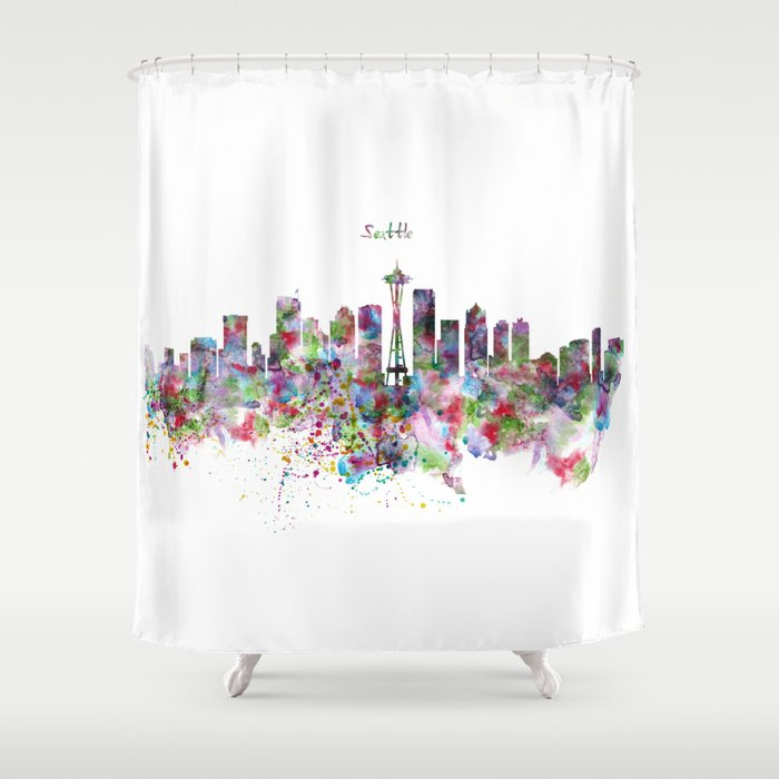 Seattle View In Watercolor Shower Curtain By Marianvoicu