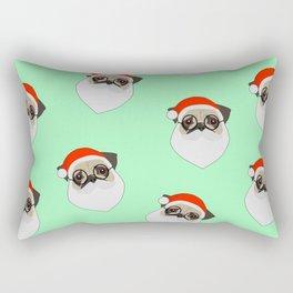 Santa Pugs Green Rectangular Pillow