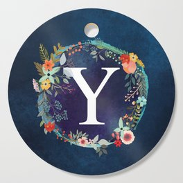 Personalized Monogram Initial Letter Y Floral Wreath Artwork Cutting Board