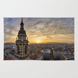Golden sunset over Budapest Rug
