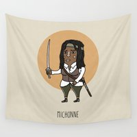 the walking dead Wall Tapestries featuring The Walking Dead, Michonne by Jarvis Glasses