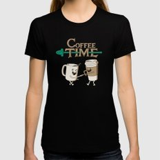 Coffee Time! SMALL Black Womens Fitted Tee