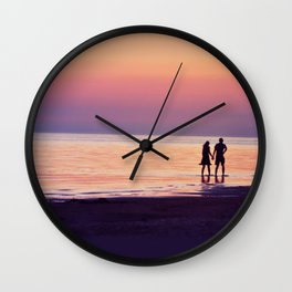 Lovers in the Sunset Wall Clock
