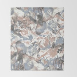 Marble Mist Terra Cotta Blue Throw Blanket