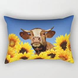 Happy Cow with Sunflowers Rectangular Pillow