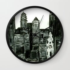 Black and White Philly Skyline Wall Clock