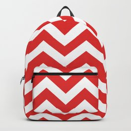 Permanent Geranium Lake - red color -  Zigzag Chevron Pattern Backpack
