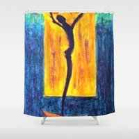 parks and recreation Shower Curtains featuring Alfred Gockel Recreation by Leslie Creveling