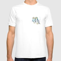 Blue Owls MEDIUM White Mens Fitted Tee