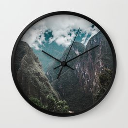 Blue morning mist over the Andes mountains and river near Machu Picchu, Peru Wall Clock