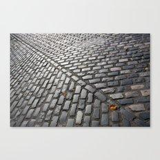 Leaves on cobblestones Canvas Print