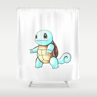 squirtle Shower Curtains featuring Pokémon - Squirtle by Petia Koteva