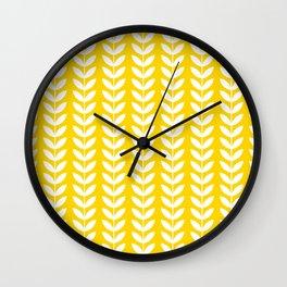 Yellow and White Scandinavian leaves pattern Wall Clock