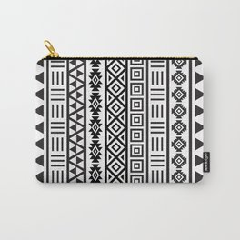 Aztec Influence Pattern Black on White Carry-All Pouch