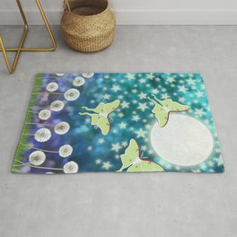 the moon, stars, luna moths, & dandelions Rug