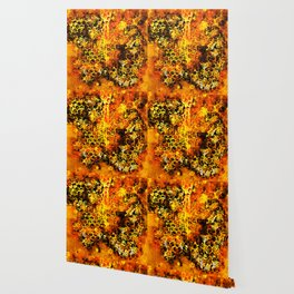 bees fill honeycombs in hive splatter watercolor Wallpaper