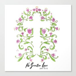 No Greater Love Floral Cross Canvas Print
