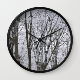 Dark trees in a dutch winter forrest -- Snow covered branches  --  Wall Clock