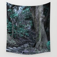 labyrinth Wall Tapestries featuring Lost in Labyrinth Forest by Julie Maxwell