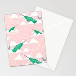 Sea unicorn - Narwhal green and pink Stationery Cards