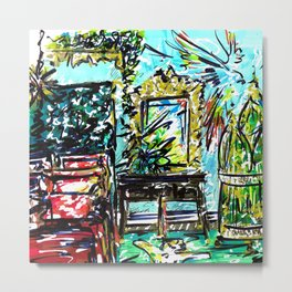 The Parrot Room Interior - Square Metal Print