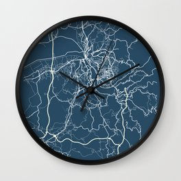 Coimbra Blueprint Street Map, Coimbra Colour Map Prints Wall Clock